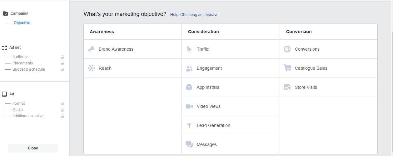 Facebook Ads to Build FB Step 2