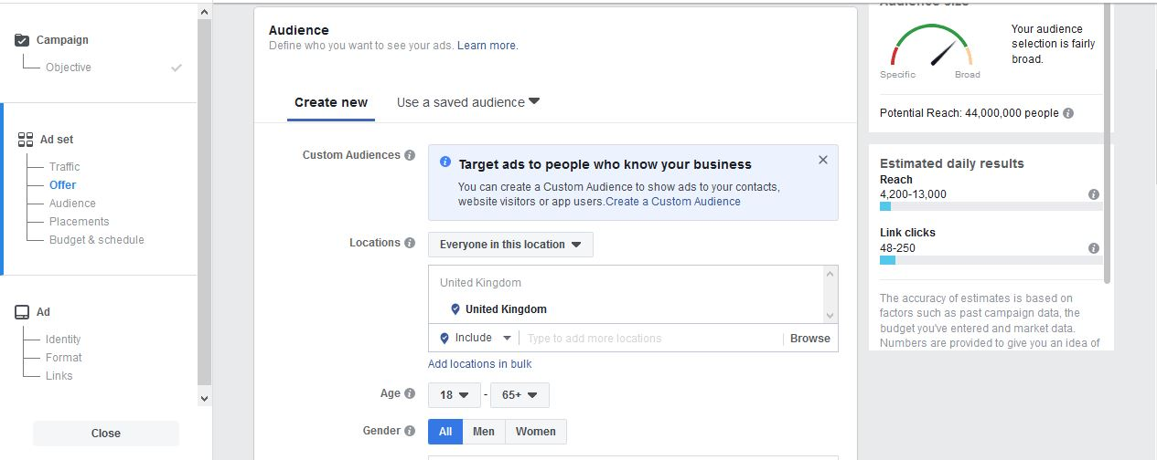 Facebook Ads to Build FB Step 3