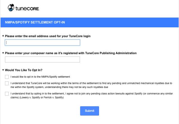 Tunecore/Spotify Settlement